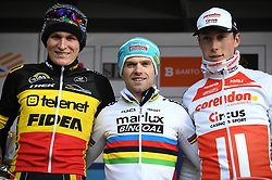 February 10, 2018 - Lille, BELGIUM - Belgian Thijs Aerts, Belgian Eli Iserbyt and dutch Jens Dekker pictured on the podium after the U23 race of the Krawatencross cyclocross in Lille, the eighth and last stage in the DVV Verzekeringen Trofee Cyclocross competition, Saturday 10 February 2018. BELGA PHOTO DAVID STOCKMAN (Credit Image: © David Stockman/Belga via ZUMA Press)