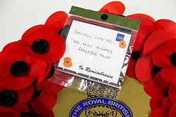 Bristol City wreath for Remembrance Day - Rogan/JMP - 06/11/2020 - Cardiff City Stadium - Cardiff, Wales - Cardiff City v Bristol City - Sky Bet Championship.