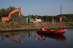HS2 workers carry out tree felling works alongside the Grand Union Canal in connection with the HS2 high-speed rail link on 21 September 2020 in Harefield, United Kingdom. Thousands of trees have already been felled in the Colne Valley for the controversial £106bn rail link.