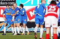Fotball, 28. oktober 2012 ,  Adeccoligaen , 1. divisjon<br /> Sandefjord - Bryne<br />  , Bryne<br /> Scoring av Jo Sondre Aas , Sandefjord , her samen med Eirik lambøy , Martin Torpog Cato Hansen, Sandefjord