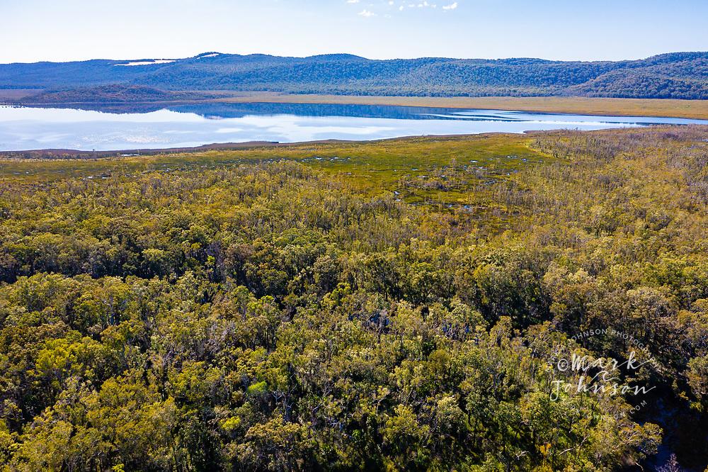 Aerial view of Lake Cooloola, Upper Noosa River, Cooloola Recreation Area, Great Sandy National Park, Sunshine Coast, Queensland, Australia
