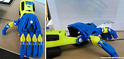 Vounteer ngineers sD-Print Superhero Prosthetic Arms For Kids<br /> <br /> In an awe-inspiring and hear-warming fusion of science fiction, fantasy and charity, an organization called E-Nabling The Future has started distributing superhero-themed 3D-printed prosthetic hands to children in need of them.<br /> Aaron Brown, one of the organization's volunteers, had the idea to attach claws to a 3D-printed prosthetic hand he had made for a child to make it look like Wolverine's fist from the popular X-Men series.<br /> The plans for the prosthetic hand that he printed were provided by E-Nabling The Future, which is formed by engineers, tinkerers, 3D-printing enthusiasts, physical therapists, designers, and anyone else who is interested in volunteering to help develop and create practical and low-cost prosthetic limbs for children. Other creative hands from the organization include an Iron Man hand and a light-up hand.<br /> ©Enablingthefuture.org/Exclusivepix