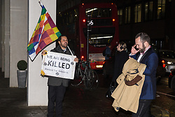 London, UK. 26 November, 2019. Activists from Global Justice Rebellion and London Mining Network hold a 'Muder & Misery Awards' protest outside the Mines and Money awards ceremony at the Honorary Artillery Company which is attended by mining company delegates, investors and government representatives. The activists were protesting to highlight the environmental impact of mining and the manner in which mining companies are increasingly attempting to 'greenwash' their activities by claiming that they are indispensable in a transition to sustainables.
