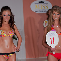 Kitti Csonka (L) and Agnes Makai (R) participate the Miss Hungary beauty contest held in Budapest, Hungary on December 29, 2011. ATTILA VOLGYI