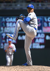 May 2, 2018 - Minneapolis, MN, U.S. - MINNEAPOLIS, MN - MAY 02: Toronto Blue Jays Starting pitcher Marcus Stroman (6) delivers a pitch during a MLB game between the Minnesota Twins and Toronto Blue Jays on May 2, 2018 at Target Field in Minneapolis, MN.The Twins defeated the Blue Jays 4-0.(Photo by Nick Wosika/Icon Sportswire) (Credit Image: © Nick Wosika/Icon SMI via ZUMA Press)