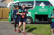 Donnacha Ryan of Ireland gives the 'thumbs up' sign as he arrives for Ireland rugby team training at Newport High School in Newport , South Wales on Friday 9th October 2015.the team are preparing for their next RWC match against France this Sunday.<br /> pic by  Andrew Orchard, Andrew Orchard sports photography.