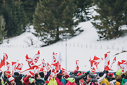 16.02.2020, Kulm, Bad Mitterndorf, AUT, FIS Ski Flug Weltcup, Kulm, Herren, im Bild Zuschauer mit Fahnen // Spectators with Flags during the men's FIS Ski Flying World Cup at the Kulm in Bad Mitterndorf, Austria on 2020/02/16. EXPA Pictures © 2020, PhotoCredit: EXPA/ JFK