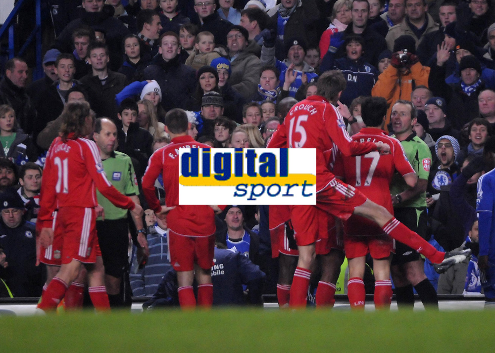 Photo: Tony Oudot/Sportsbeat Images.<br /> Chelsea v Liverpool. Carling Cup, Quarter Final. 19/12/2007.<br /> Peter Crouch of Liverpool protests his innocence to referee Martin Atkinson but is still sent off