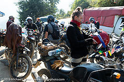 Danita Gayle in Motorcycle Sherpa's Ride to the Heavens motorcycle adventure in the Himalayas of Nepal. This first day of riding took us from Kathmandu to Nuwakot. Monday, November 4, 2019. Photography ©2019 Michael Lichter.