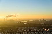 Nederland, Noord-Holland, Amsterdam, 11-12-2013; rookpluimen uit de schoorstenen van Afval Energie Bedrijf Amsterdam in de winter en bij zonsondergang. <br /> Waste and Energy Company Amsterdam at sunset.<br /> luchtfoto (toeslag op standaard tarieven);<br /> aerial photo (additional fee required);<br /> copyright foto/photo Siebe Swart.