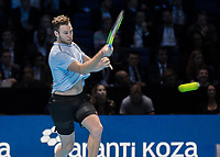 Tennis - 2017 Nitto ATP Finals at The O2 - Day Five<br /> <br /> Group Boris Becker Singles: Alexander Zverev (Germany) Vs Jack Sock (United States)<br /> <br /> Jack Sock (United States) powers a return as he goes into the semi finals at the O2 Arena<br /> <br /> COLORSPORT/DANIEL BEARHAM