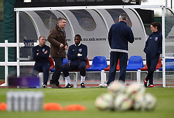 Chairman of Bristol Academy WFC, Simon Arnold with the coaching team ahead of the WSL fixture against Notts County Ladies - Photo mandatory by-line: Paul Knight/JMP - Mobile: 07966 386802 - 25/04/2015 - SPORT - Football - Bristol - Stoke Gifford Stadium - Bristol Academy Women v Notts County Ladies FC - FA Women's Super League