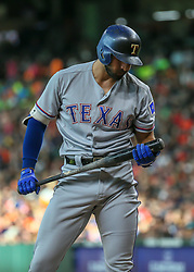July 28, 2018 - Houston, TX, U.S. - HOUSTON, TX - JULY 28:  Texas Rangers right fielder Joey Gallo (13) reacts after striking out in the top of the second inning during the baseball game between the Texas Rangers and Houston Astros on July 28, 2018 at Minute Maid Park in Houston, Texas.  (Photo by Leslie Plaza Johnson/Icon Sportswire) (Credit Image: © Leslie Plaza Johnson/Icon SMI via ZUMA Press)