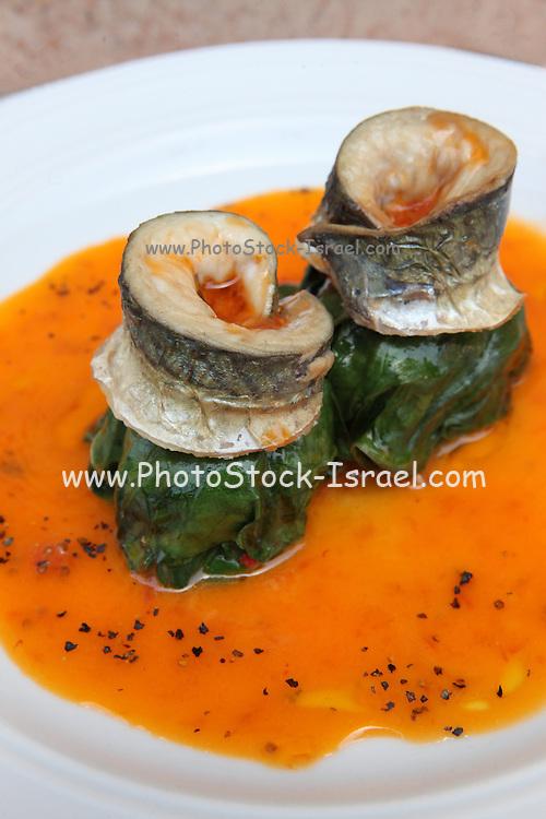 Chard leaf balls with fish fillet