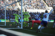 Adam Le Fondre (9) of Reading's shot just about crosses the line after the attempted clearance by Yeovil's Tom Lawrence ends up being an own goal to equalise at 1-1 during the Skybet championship match, Reading v Yeovil Town at the Madejski Stadium in Reading, Berkshire on Saturday 1st March 2014.<br /> pic by Jeff Thomas, Andrew Orchard sports photography.