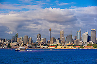 Sydney Harbor with the Central Business District behind, Sydney, New South Wales, Australia