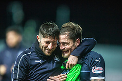 Falkirk's Lewis Kidd and Paul Paton at the end. Falkirk 2 v 0 Ayr United, Scottish Championship game played 8/3/2019 at The Falkirk Stadium.