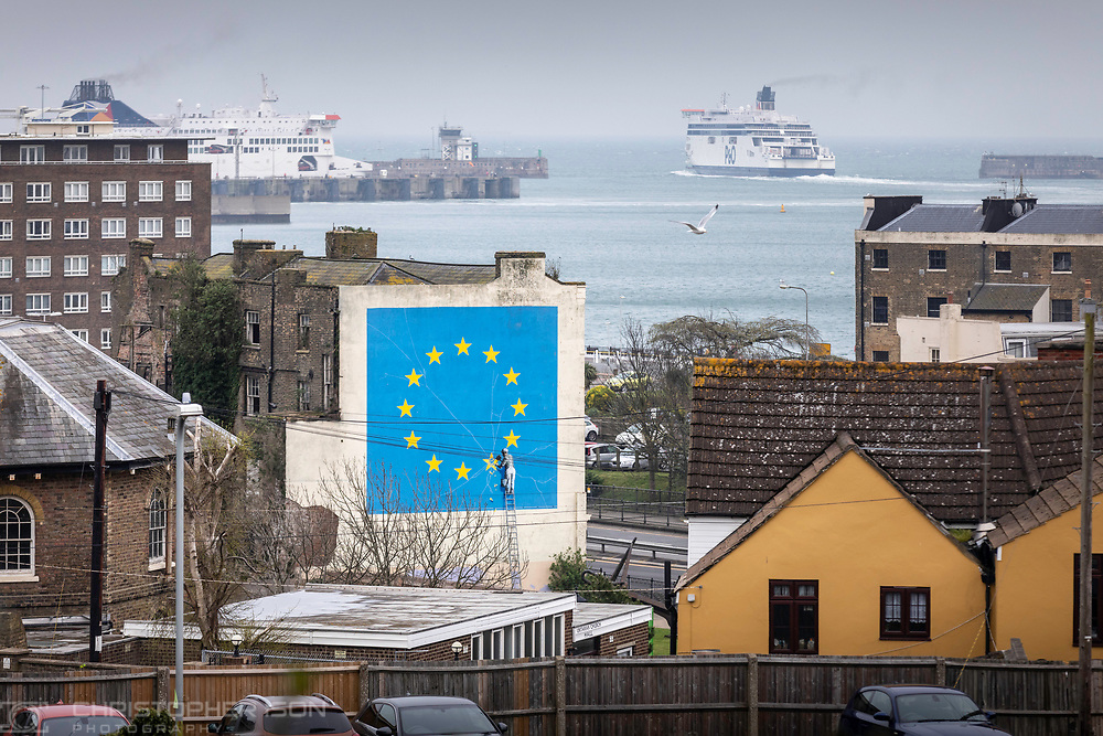 What next for Brexit??<br /> A ferry departs the Port of Dover, leaving behind Banksy's famous Brexit mural on the side of a derelict building. <br /> Prime Minister Theresa May is meeting European leaders today to ask for an extension in the hope of avoiding a no-deal Brexit. <br /> Picture date Wednesday 10th April, 2019.<br /> Picture by Christopher Ison. Contact +447544 044177 chris@christopherison.com