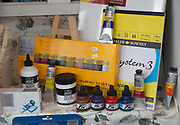 Display of various art materials in shop window, Marlborough, Wiltshire, England, UK