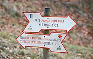 Trail markings in the gorge of Piatra Craiului national park, Transylvania, Romania