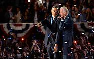 President Barack Obama address supporters during his election night event in Chicago on November 6, 2012. (UPI)