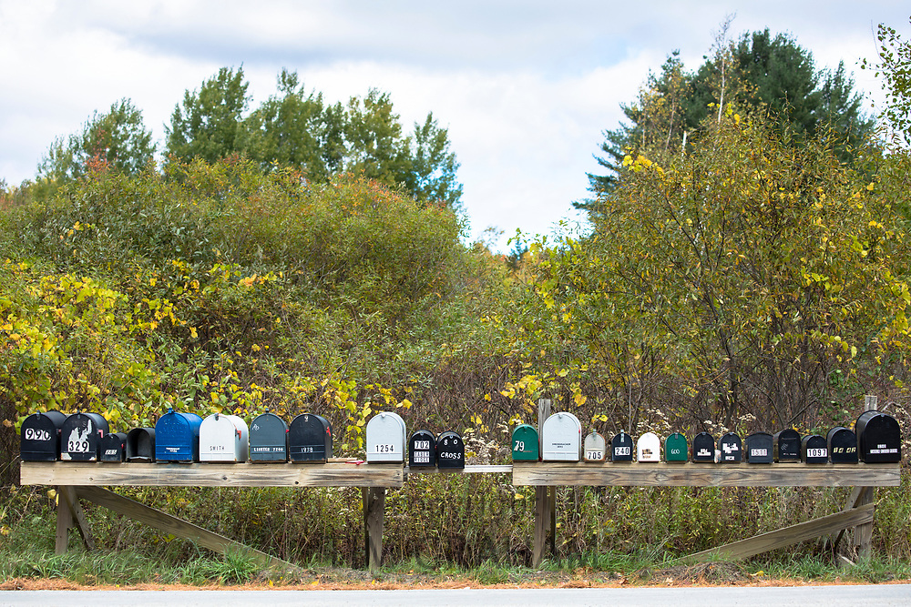 A row of mailboxes at Stowe in Vermont, New England, USA