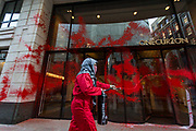 """Palestine Action activists painted in the red colour entry of """"ONE CURZON"""" in London on Wednesday, June 9, 2021. (Photo by Marcin Nowak/VXP)"""