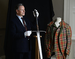 Charles Bruce, the current Lord Bruce, with the Sword of State of Robert the Bruce, King of Scotland, which is going on display to the public for the first time in Edinburgh.<br /> <br /> © Dave Johnston/ EEm