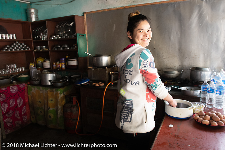 Getting ready for lunch on Day-7 of our Himalayan Heroes adventure riding from Tatopani to Pokhara, Nepal. Monday, November 12, 2018. Photography ©2018 Michael Lichter.
