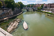 A view of Tevere river, where the level of the water is very much under it's normal level on July 28, 2017 in Rome, Italy. Rome has suffered from worsening drought since March so as of tomorrow the municipality has decided to take action and ration the distribution of water to citizens, with 8 hour delivery blocks to each area. ©Simone Padovani