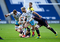 Rugby Union - 2021 Guinness Pro14 Rainbow Cup - Northern Group - Edinburgh vs Glasgow Warriors - Murrayfield<br /> <br /> Adam Hastings of Glasgow Warriors is tackled by Mesu Kunavula of Edinburgh Rugby<br /> <br /> Credit : COLORSPORT/BRUCE WHITE