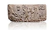 """Aslantepe Hittite Orthostat. Limestone, Aslantepe, Malatya, 1200-700 BC. Anatolian Civilizations Museum, Ankara, Turkey.<br /> <br /> Scene of offering drink and sacrifice. The god, with a symbol of divinity above, is in the chariot while holding a boomerang in his hand and a sword at his waist. The same god holds a lightning bundle in the middle. On the right, the king offers a drink to god. The inscription above reads """"Great, powerful King Sulumeli"""". A servant stands behind holding a bull for sacrifice to the gods. <br /> <br /> Against a white background.<br /> <br /> If you prefer to buy from our ALAMY STOCK LIBRARY page at https://www.alamy.com/portfolio/paul-williams-funkystock/hittite-art-antiquities.html . Type - Aslantepe - in LOWER SEARCH WITHIN GALLERY box. Refine search by adding background colour, place, museum etc.<br /> <br /> Visit our HITTITE PHOTO COLLECTIONS for more photos to download or buy as wall art prints https://funkystock.photoshelter.com/gallery-collection/The-Hittites-Art-Artefacts-Antiquities-Historic-Sites-Pictures-Images-of/C0000NUBSMhSc3Oo"""