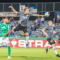 12.09.2020, Ernst-Abbe-Sportfeld, Jena, GER, DFB-Pokal, 1. Runde, FC Carl Zeiss Jena vs SV Werder Bremen<br /> <br /> <br /> Ömer / Oemer Toprak (Werder Bremen #21)<br /> René Lange (Carl Zeiss Jena #20)<br /> <br />  <br /> <br /> <br /> Foto © nordphoto / Kokenge