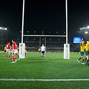 Berrick Barnes, Australia, is congratulated by team mates after scoring a try for his side during the Australia V Wales Bronze Final match at the IRB Rugby World Cup tournament, Auckland, New Zealand. 21st October 2011. Photo Tim Clayton...