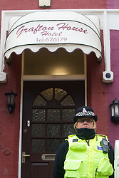 © Licensed to London News Pictures . Blackpool , UK . 04/02/2013 . Police guard the scene at the Grafton House Hotel , Kirby Road , Blackpool today (4th February 2013) where Sasha Marsden was found murdered , as David Minto is due before Magistrates , charged with the murder of the 16 year old this morning (4th February 2013) . Photo credit : LNP