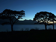 A sunset view over Lough Lein Killarney with Carrauntoohill Mountain silhouetted against the night sky.<br /> Picture by Don MacMonagle<br /> Photo: Don MacMonagle - macmonagle.com
