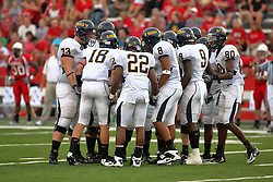 08 September 2007: Racer offensive huddle. The Murray State Racers were defeated by the Illinois State Redbirds 43-17 in a nightcap at Hancock Stadium on the campus of Illinois State University in Normal Illinois.