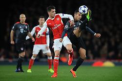 7 March 2017 - UEFA Champions League - (Round of 16) - Arsenal v Bayern Munich - Thiago Alcantara of Bayern Munich in action with Granit Xhaka of Arsenal - Photo: Marc Atkins / Offside.