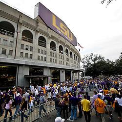 November 13, 2010; Baton Rouge, LA, USA; Fans file into the stadium prior to kickoff of a game between the LSU Tigers and the Louisiana Monroe Warhawks at Tiger Stadium.  Mandatory Credit: Derick E. Hingle