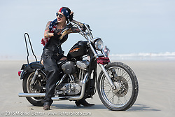 Kissa Von Addams and the Iron Lillies on the beach for the Hot Leathers ride during the Daytona Bike Week 75th Anniversary event. FL, USA. Tuesday March 8, 2016.  Photography ©2016 Michael Lichter.