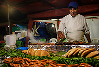 CASABLANCA, MOROCCO - CIRCA APRIL 2017:  Food street seller at night at the  Medina and  in  Casablanca