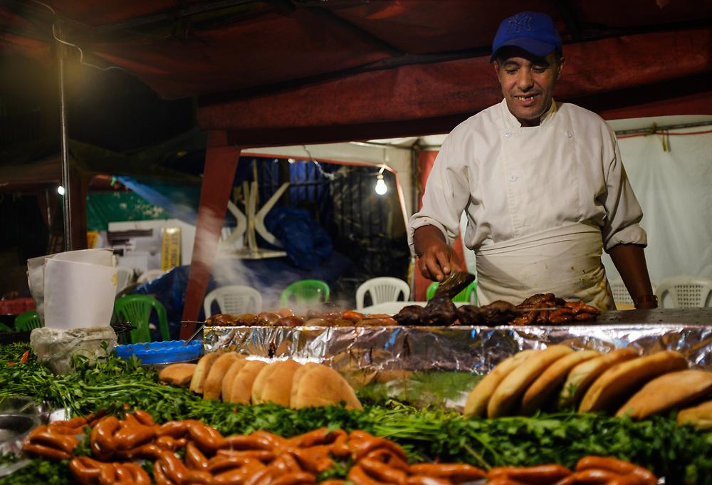 CASABLANCA, MOROCCO - CIRCA APRIL 2017:  Food street seller at night at the  Medina and  in  Casablanca