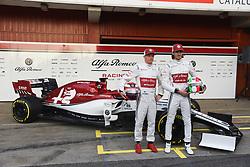 February 18, 2019 - Barcelona, Spain - Kimi Raikkonen and Antonio Giovinazzi of Alfa Romeo Racing present a new Formula One car before winter test in Barcelona, on February 18, 2019. (Credit Image: © Andrea Diodato/NurPhoto via ZUMA Press)