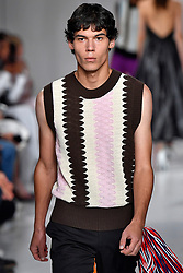 Model Tyler Blue Gordon walks on the runway during the Calvin Klein Fashion show at New York Fashion Week Spring Summer 2018 held in New York, NY on September 7, 2017. (Photo by Jonas Gustavsson/Sipa USA)