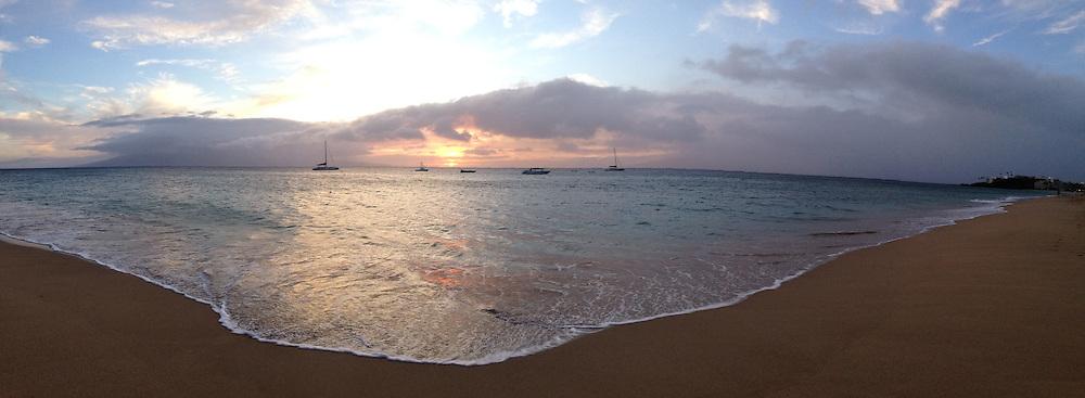 Sunset Over Maui Channel from Kaanapali Beach, Maui, Hawaii, US
