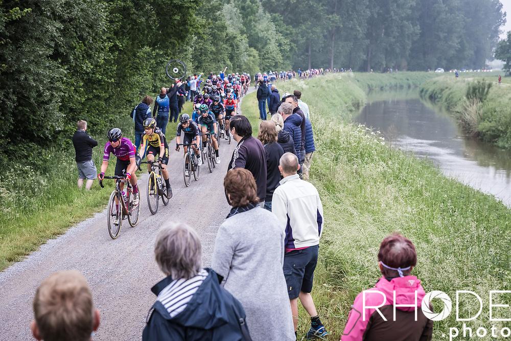 Chantal van den Broek-Blaak (NED/SDWorx) leads the peloton over a gravel section<br /> <br /> 1st Dwars Door Het Hageland Women Elite <br /> One Day Race: Aarschot > Diest 122km<br /> Bingoal Cycling Cup 2021<br /> <br /> ©RhodePhoto