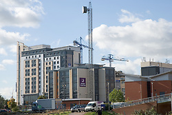 Jury's Inn; a new modern design hotel building under construction in the city of Nottingham,