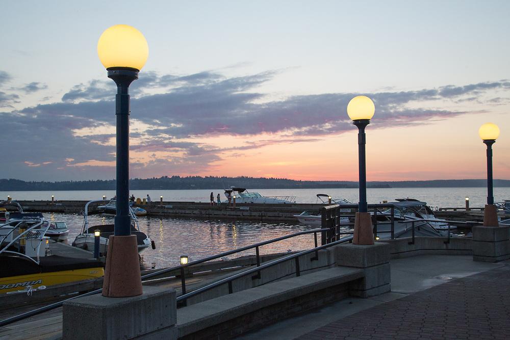United States, Washington, Kirkland,  sunset behind marina on Lake Washington