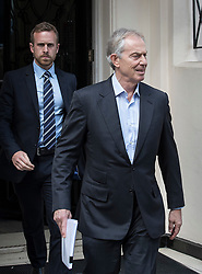 "© Licensed to London News Pictures. 06/07/2017. London, UK. Former Prime Minister Tony Blair (R) is seen in central London. Earlier, Sir John Chilcot , head of the Iraq Inquiry, gave an interview in which he said Mr Blair was not ""straight with the nation"" in his decisions in the run up to the Iraq war.  Photo credit: Peter Macdiarmid/LNP"
