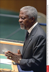 File Photo - UN Secretary General Kofi Annan pictured as he opens the UN 57th General Assembly. New York City-NY-USA, 12/09/2002. Kofi Annan, the former UN secretary-general who won the Nobel Peace Prize for humanitarian work, has died aged 80, his aides say. Photo by Nicolas Khayat/ABACAPRESS.COM
